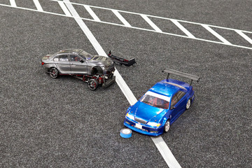 Accident in racing radio control cars