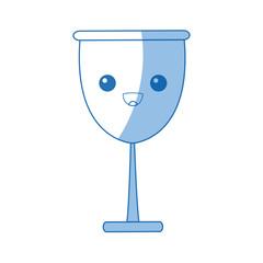 kawaii glass cup beverage wine glassware vector illustration