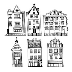 Drawing of a set of vintage houses of the old city of Riga, sketch of hand-drawn ink vector illustration