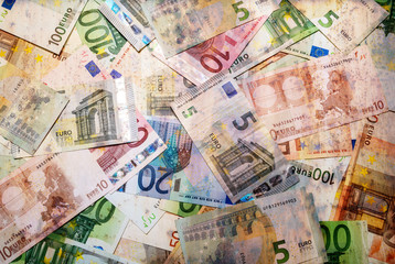 Set of euro banknotes.