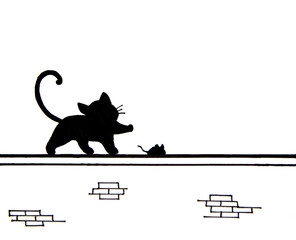 Hand drawn of cute black cat and a mouse on wall - place for text