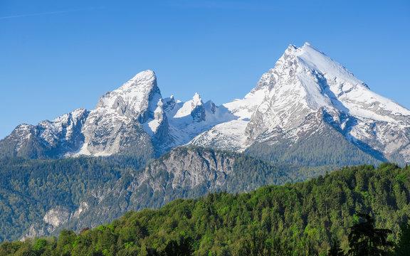 Snowy mount peaks of Watzmann Mountain ridge in Bavarian Alps