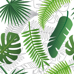 Tropical trendy pattern with exotic leaves.