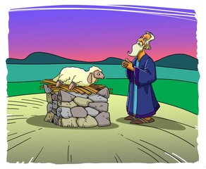 Abraham brings a lamb sacrifice