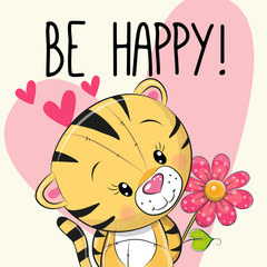 Be Happy Greeting card Tiger with hearts