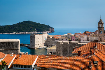 Beautiful view of Dubrovnik Croatia with the Old Town and water horizon.