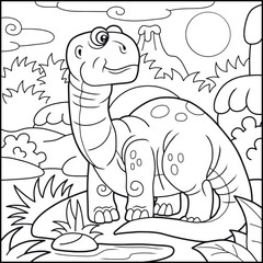 Cartoon cute brontosaurus, coloring book