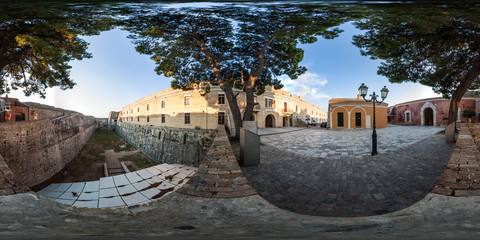 360 degree spherical panorama from Corfu town, Greece. View to the Old Byzantine fortress Paleo Fryrio of Kerkyra.