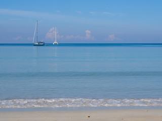 Sailboats on calm sea at Phuket, Thailand