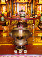 Offerings in a Chinese temple in Georgetown, Penang, Malaysia