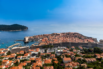 Beautiful aerial panoramic view from above of Dubrovnik Croatia with the Old Town and water horizon.