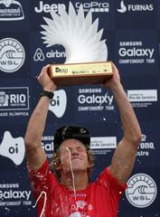 Florence of Hawaii celebrates after winning the World Surf League (WSL) Rio Pro championship men's final at Barra da Tijuca beach in Rio de Janeiro