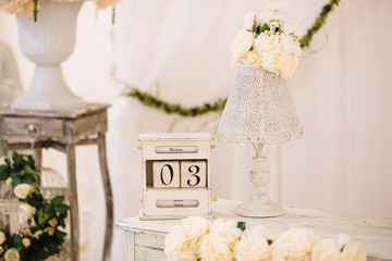 Wedding decoration with cage on the table