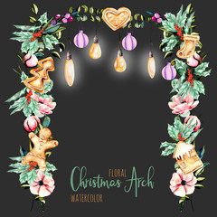 Watercolor floral Christmas arch with hanging lamps for holiday design, greeting and invitation cards, hand painted isolated on a dark background