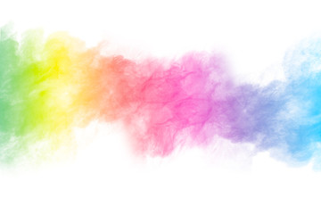 abstract color powder splatted on white background,Freeze motion of color powder explosion