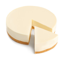Wall Mural - Delicious sliced cheesecake on white background