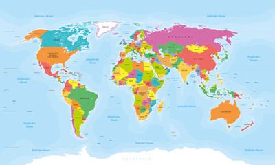 Weltkarte auf deutsch - Vektorisiert texte : länder, hauptstädte, inseln, meere...