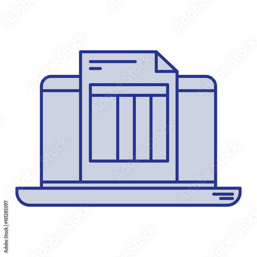 blue silhouette of laptop computer and billing sheet vector