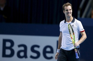 France's Gasquet reacts during his semi-final match against Nadal of Spain at the Swiss Indoors ATP men's tennis tournament in Basel