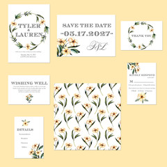 Template cards set with watercolor pink flowers illustrations; wedding design for invitation, Save the date card, RSVP, Thank you card, Wishing Well card,  for anniversary day