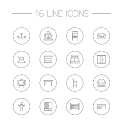 Set Of 16 Situation Outline Icons Set.Collection Of Washbasin, Fireplace , Chandelier Elements.