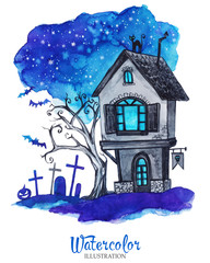 Hand painted old house at halloween's night. Spooky landscape.