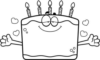 Cartoon Birthday Cake Hug
