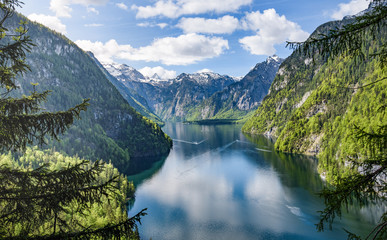Lake Koenigsee with many tourist boats seen from the rabensteinwand, Berchtesgaden, Bavaria, Germany Wall mural