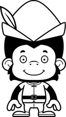 Cartoon Smiling Robin Hood Chimpanzee
