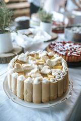 cake at wedding buffet