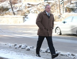 """Former NHL hockey player Guy Lafleur arrives for the funeral of  Richard """"Dickie"""" Moore in Montreal"""