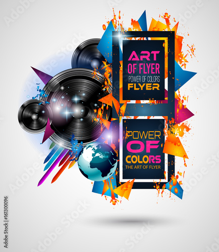 Disco Dance Art Design Poster With Abstract Shapes And Drops