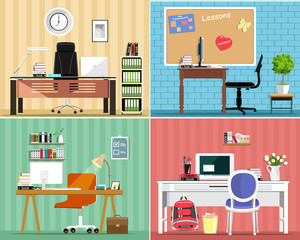 Cool graphic furniture set: tables, chairs, computers, notes, some furniture elements. Stylish interior design. Cute office furniture. Vector illustration.