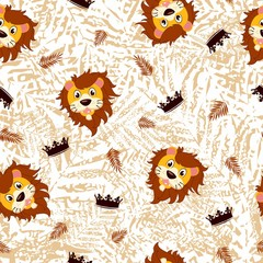Fototapeta Cute seamless pattern for children with funny lions. Smile characters.  obraz