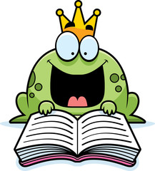 Cartoon Frog Prince Reading