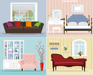 Stylish graphic room set: bedroom with bed and night table; living room with sofa, armchair, window. Interior design with cute furniture. Vector illustration.