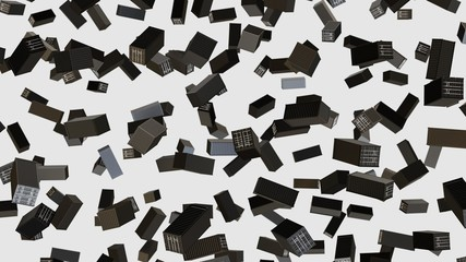 Numerous Shipping Containers floating on a clean white background