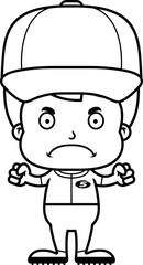 Cartoon Angry Baseball Player Boy