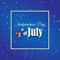 American Independence Day 4 th july. Greeting card design. National flag. Vector illustration.Patriotic symbol holiday poster. Happy independence day, USA Celebration wallpaper.