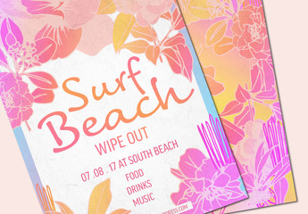 Bright and Floral Summer Party Invitation Layout 1