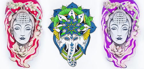 Set of sketches of a multicolored buddha and elephant on a white background.