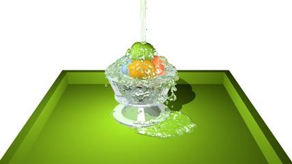 Glas mit bunten Kugeln auf einem Tablett. 3d rendering