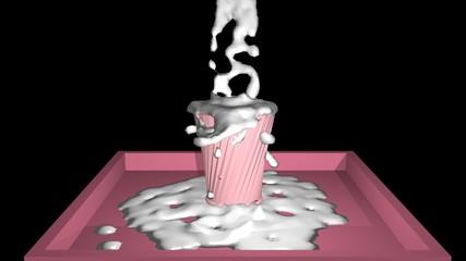 Milch im Becher, der überläuft. 3d rendering auf schwarzem Hintergrund
