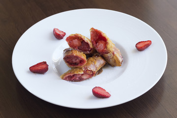 Strawberries in pie crusts