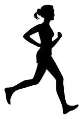 Running woman vector illustration isolated, run girl silhouette.