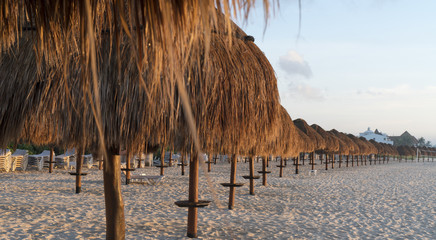 Straw huts lined up on the beach