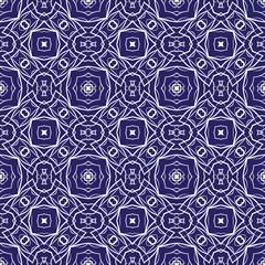 Seamless white geometric pattern on a blue background.