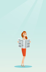 Woman reading a newspaper vector illustration.