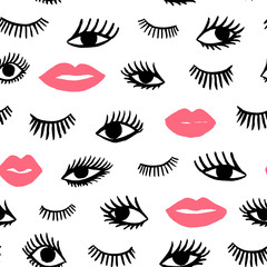 Hand drawn eye, pink lips doodles seamless pattern in retro style. Vector beauty illustration of open and close eyes for cards, textiles, wallpapers, backgrounds.