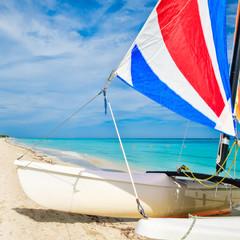 Wall Mural - Colorful sailboat at Varadero beach in Cuba